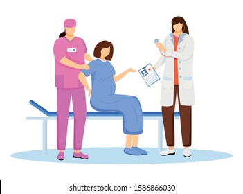 Childbirth at hospital flat vector illustration. Reproductive medicine. Pregnant woman with contractions and labor. Obstetrics and gynecology. Obstetrician, nurse with patient cartoon characters