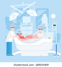 Childbirth in water vector illustration. Childbirth at the clinic