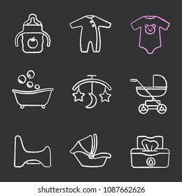 Childcare chalk icons set. Sippy cup, romper, bodysuit, bathtub, bed carousel, baby carriage, potty chair, car seat, wet wipes. Isolated vector chalkboard illustrations