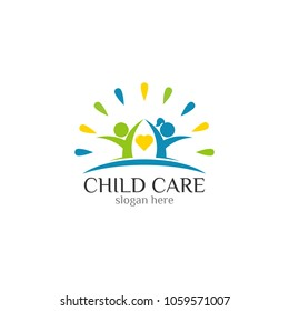 Childcare Foundation icon vector logo design template