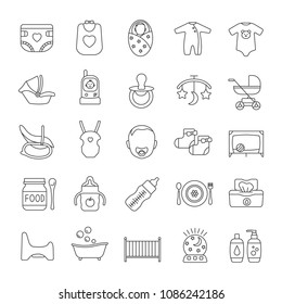 Childcare linear icons set. Equipment, clothes, carriages, car seats, nutrition for babies. Thin line contour symbols. Isolated vector outline illustrations. Editable stroke