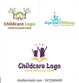 Childcare logo design with kids girl boy playing and tree home illustration vector suitable for symbol creative playground kindergarten caregiver education