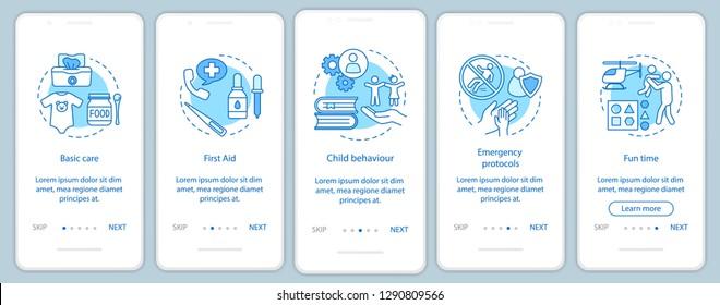 Childcare service onboarding mobile app page screen vector template. Babysitters classes. Walkthrough website steps. Pediatrics. Child care courses program. UX, UI, GUI smartphone interface concept