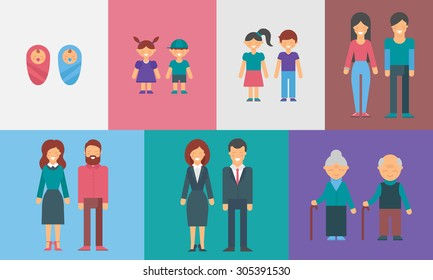 Childhood, adolescence, adulthood, old age. Generations. People of different ages vector illustration for infographic