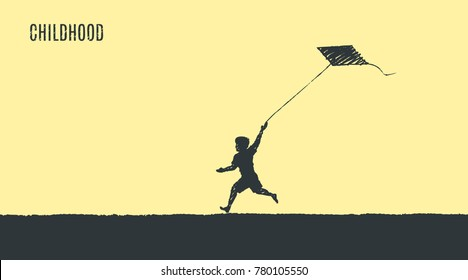 Childhood. A barefooted boy runs along the beach and starts the kite. Vector flat concept illustration, hand drawn sketch.