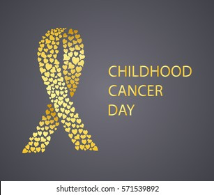 Childhood Cancer Day awareness gold ribbon. Vector illustration.