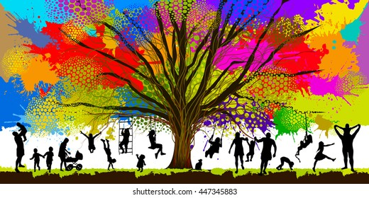 Childhood colorful tree. Vector