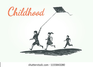 Childhood concept sketch. Boys and a girl are playing with a kite. Vector hand drawn illustration.