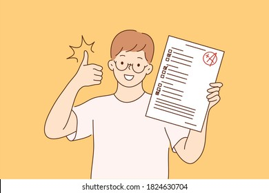 Childhood, education, study, success, like concept. Young happy cheerful smiling boy pupil character standing with test exam results showing thumbs up. Successful goal achievement and back to school.
