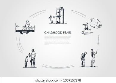 Childhood fears - children afraid of ghosts, doctor, werewolf and belt punishment vector concept set. Hand drawn sketch isolated illustration