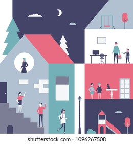 Childhood - flat design style conceptual illustration. Cartoon characters, kids at school and home. Colorful composition with a house, playground and classroom. Social theme