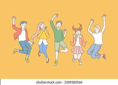 Childhood, friendship, party concept. Group of happy children enjoy the holidays. Smiling teen fans jump posing for a photo. Pleasure of winning. Simple flat vector.