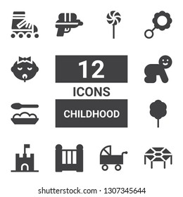 childhood icon set. Collection of 12 filled childhood icons included Trampoline, Pushchair, Cradle, Sand castle, Cotton candy, Baby food, Baby, Water gun, Rattle, Roller skate