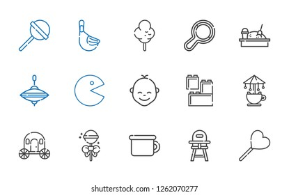 childhood icons set. Collection of childhood with lollipop, baby chair, potty, carriage, carousel, lego, baby, pac man, whirligig, sandbox. Editable and scalable childhood icons.