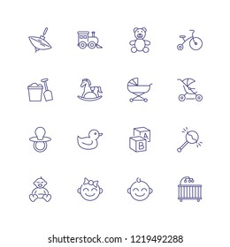 Childhood icons. Set of line icons on white background. Toys, baby, daycare. Nursery concept. Vector can be used for topics like children, childcare, kindergarten
