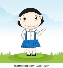 a childhood Little Girls of Thailand, Thai school uniform.