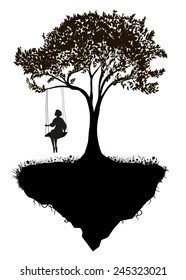 Childhood memories, piece of childhood, girl on swing, fairy, black and white,  tree on flying rock, silhouette