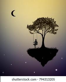 Childhood memories, piece of childhood, girl on swing, fairy, tree on flying rock, silhouette