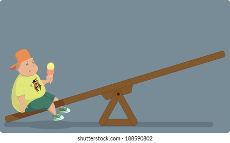 Childhood obesity. Overweight boy sitting alone on a seesaw