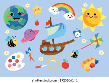 childhood stuffs and colourful nature things cartoon