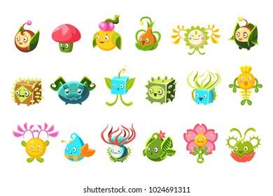 Childish Alien Fantastic Alive Plants Emoji Characters Collection Of Vector Fantasy Vegetation