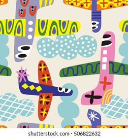 Childish background with airplanes. Seamless vector