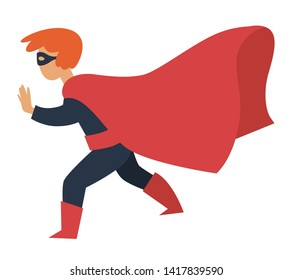 Childish Birthday party boy in superman costume mask and cloak vector superhero fairy or comics character carnival or masquerade holiday celebration human with superpowers kid or child playing