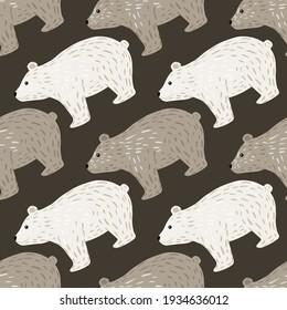 Childish cartoon seamless pattern with white and beige bear silhouettes print. Grey background. Doodle print. Perfect for fabric design, textile print, wrapping, cover. Vector illustration.