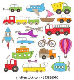 Childish colorful drawing of various toy vehicles. The coloring is imperfect, hand drawn looking.