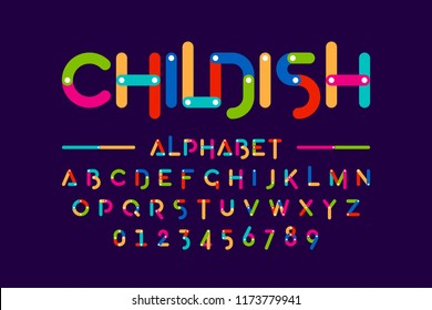 Childish colorful font, construction set alphabet letters and numbers vector illustration