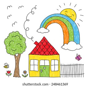 Childish doodle of a rainbow over a little house and a tree