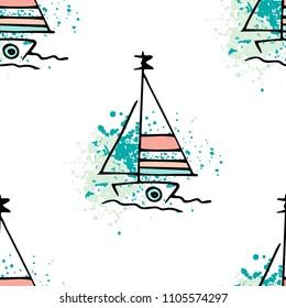 Childish drawing yacht silhouette on wave. Light summer travel adventure seamless pattern. Marine icon sketch on splash ink. Bright ship, sailboat. Retro sailing transport. Infinitely repeating motif.