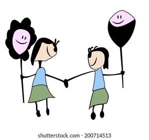 childish drawn cartoon, sisters friendship