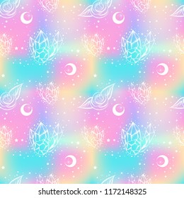 Childish galaxy seamless pattern with roses and crystals. 80-90ss style. Opal, petrol, holographic background. Harajuku motifs.