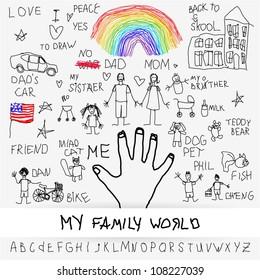 Childish graphic depicting children's world illustration