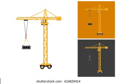 Childish hand drawn construction machinery illustration: tower crane. Isolated vector art element on white, dust orange and dark background in childlike sketch style.