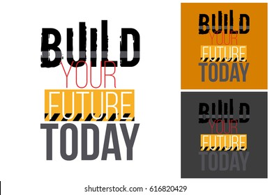 Childish hand drawn construction machinery illustration: build your future today label. Isolated vector art element on white, dust orange and dark background in childlike sketch style.