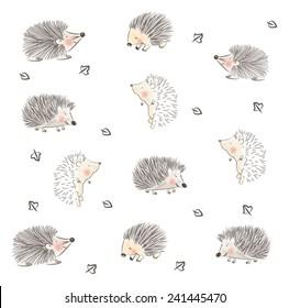 CHILDISH HEDGEHOG CUTE PATTERN DESIGN. For fabrics, textile, wall prints, cards, etc. Editable vector illustration file,