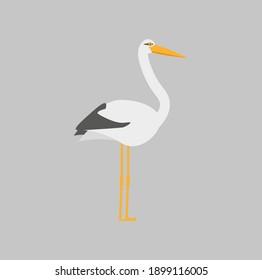 childish illustration, of stork on white background