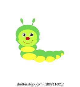 childish illustration, of worm on white background