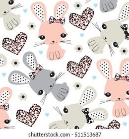 childish pattern with bunny, easter pattern with bunny girls, hand drawn bunnies background, wrapping paper vector illustration