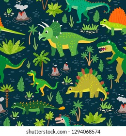 Childish pattern with dinosaurs and tropical leaves and flowers. Vector illustration. Seamless nursery wallpaper. Cute cartoon dino design. Prehistoric Jurassic reptiles.