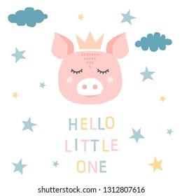 Childish pig pattern background. Abstract illustration for design brthday card, invitation, baby shop sale advertising, bag print, wallpaper, t shirt etc.