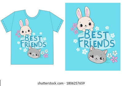 Childish print design for t-shirt cute cat and rabbit with chamomile flowers with handwritten phrase best friends on a blue background vector illustration
