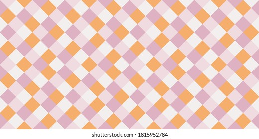 Childish rhombus tiles seamless pattern vector graphic design. Square shapes vintage background. Rhombus geometric seamless pattern, tablecloth fabric print. Checkerboard squares endless backdrop.