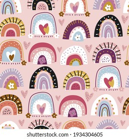 Childish seamless pattern with abstract hand drawn rainbows, flowers and hearts. Trendy kids vector background.