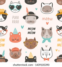 Childish seamless pattern with adorable cat faces or heads wearing glasses, sunglasses and hats. Backdrop with cartoon animal muzzles on light background. Flat vector illustration for wrapping paper.
