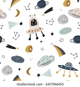 Childish seamless pattern with aliens, ufo in cosmos.