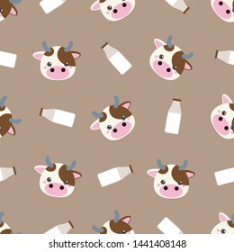 Childish seamless pattern animal cow and milk on brown background. Vector illustration for kid. Pattern suitable for posters, postcards, fabric or wrapping paper.