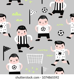 Childish Seamless Pattern with Boy Football Player. Children Background with Funny Soccer Boys for Fabric, Print, Wrapping, Wallpaper. Vector illustration